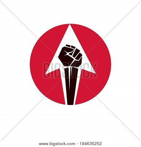 Vector illustration created with clenched fist of a strong man. People demonstration fighting for their rights and freedom.