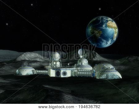 3D Illustration Of A Space Station