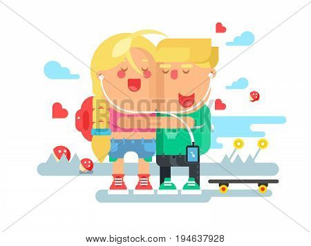 Empathy boy and girl. Love woman and man, friendship together, dating and sympathy. Vector illustration