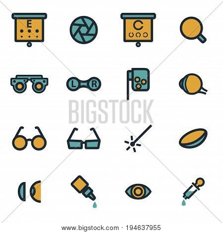Vector flat optometry icons set on white background