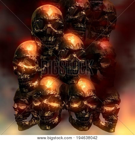 3D Illustration Of Creepy Skulls