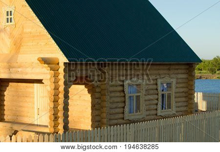 Wooden house built of logs old technology