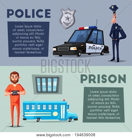 Policeman character. Prison. Criminal in orange uniform. Cartoon vector illustration. Funny cop. Police car. Public safety transport
