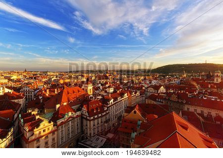 PRAGUE CZECH REPUBLIC - MAY 15 2016: Old town of Stare Mesto view from town hall clock tower