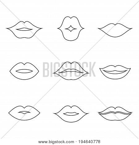 Lips outline thin art set. Soft, movable, open female mouths, image for beauty makeup products. Vector flat style illustration isolated on white background