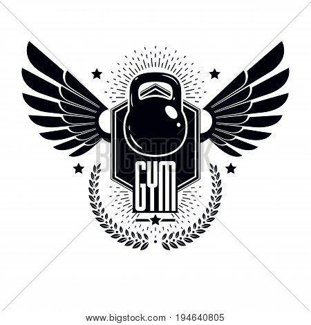 Bodybuilding weightlifting gym logotype sport template retro style vector emblem with wings. With kettlebell.