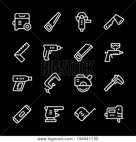 Set line icons of electric and hand tool isolated on black. Vector illustration