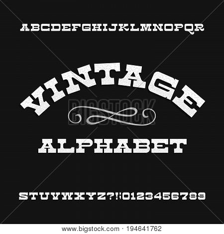 Vintage alphabet. Retro slab serif letters and numbers. Western font. Stock vector typeface for your design.