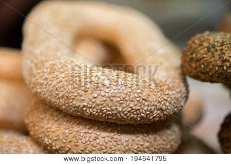 Macro Shot Of Fresh Sesame Bagels At The City Market