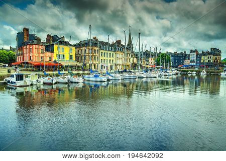 Spectacular famous harbor with boats and luxury yachts Honfleur Normandy France Europe