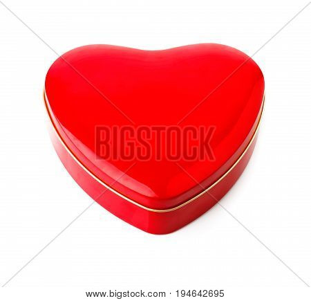 Red gift box in form of heart. Isolated on white background. Illustration.