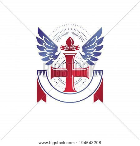 Cross of Christianity Religion emblem composed with bird wings and royal Lily flower. Heraldic Coat of Arms decorative logo isolated vector illustration. Guardian angel.