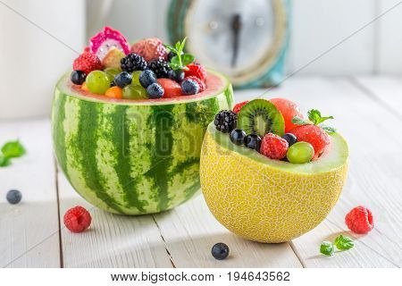 Fruits Salad In Watermelon And Melon With Berry Fruits