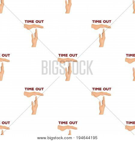 Gesture of a time out.Basketball pattern icon in cartoon style vector symbol stock illustration .