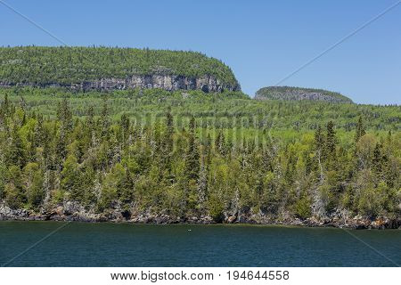 Lake Superior and tree covered hills at Sleeping Giant Provincial Park.