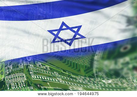 Israel flag on a high tech background.