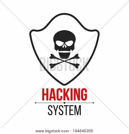 Skull icon with shield on white background. The hacker hacked the system. Cyber crime. Web programming. Icon in a flat style. Vector illustration