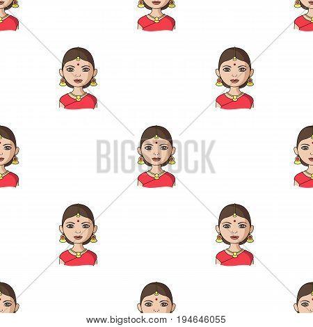 Hindu woman.Human race single icon in cartoon style vector symbol stock illustration .