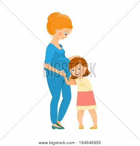 Daughter listens to the belly of a pregnant mother.Isolated on white background. Cartoon style.Vector illustration.