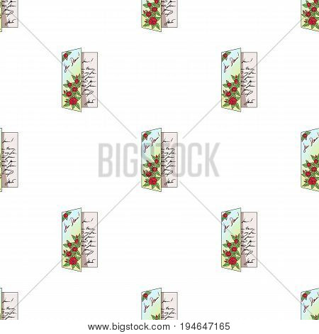 Greeting card.Mail and postman pattern icon in cartoon style vector symbol stock illustration .