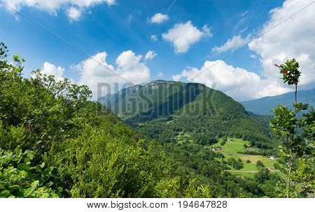 a view of the Taillefer mountain in Haute Savoie France