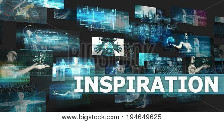 Inspiration Presentation Background with Technology Abstract Art 3D Render