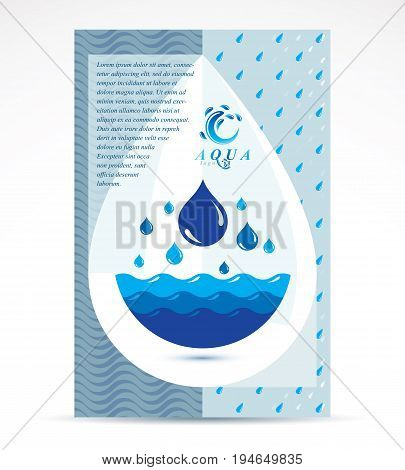 Water treatment company advertising flyer. Global water circulation conceptual design blue planet.