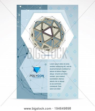 Web technologies company booklet cover design. 3d origami abstract grayscale mesh object vector abstract design element.