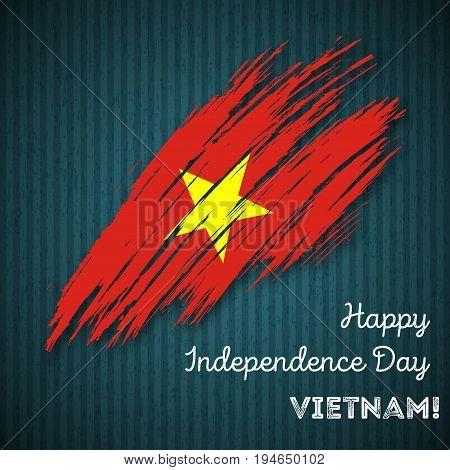 Vietnam Independence Day Patriotic Design. Expressive Brush Stroke In National Flag Colors On Dark S