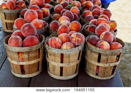 Selling peaches on the market Peaches at farmers market