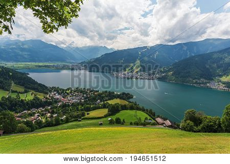 Zell am See summer landscape with mountains and lake in Austria
