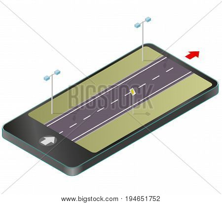 Isometric road in mobile phone. Roadway transportation in communication technologies, paraphrase. Highway with street lamps, traffic sign, isolated on white background. Vector transportation building.