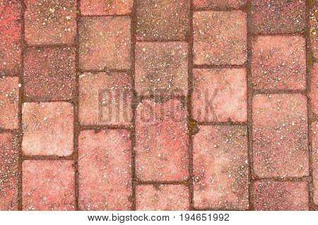 Block Paving Background, worn, rough and dirty