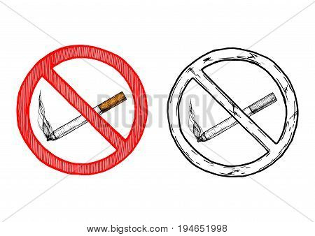 No smoking sign. Vector hand drawn illustration in vintage engraved style. isolated on white background.