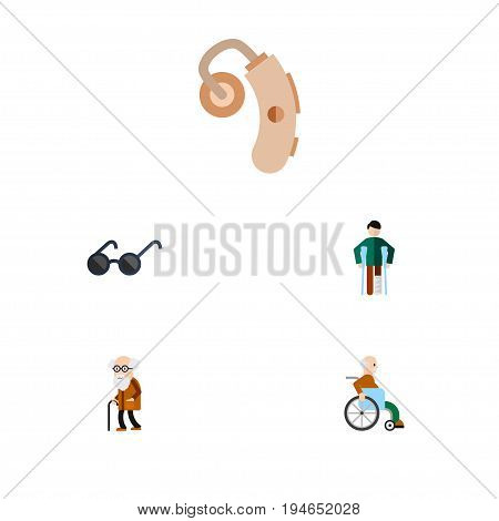 Flat Icon Handicapped Set Of Injured, Spectacles, Handicapped Man Vector Objects. Also Includes Audiology, Disability, Sunglasses Elements.