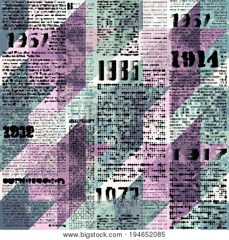 Seamless background pattern. Imitation of grunge retro halftone newspaper, unreadable.