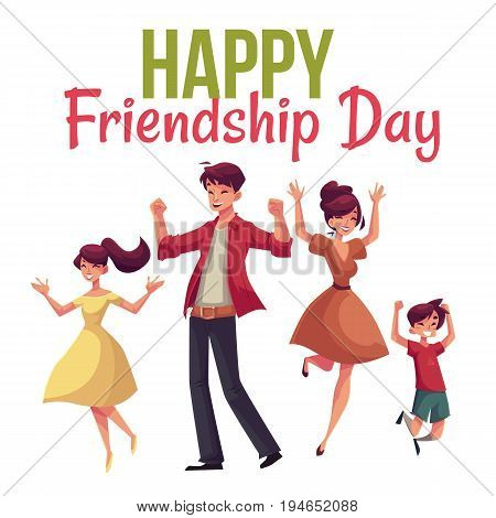 Happy friendship day greeting card design with family jumping from happiness, cartoon vector illustrations isolated on white background. Happy family of father, mother, sister and son jumping
