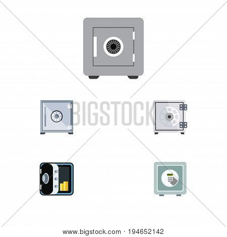 Flat Icon Safe Set Of Banking, Safe, Security And Other Vector Objects. Also Includes Safe, Protection, Strongbox Elements.