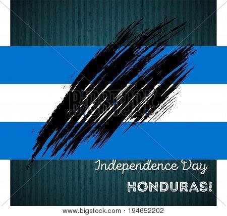 Honduras Independence Day Patriotic Design. Expressive Brush Stroke In National Flag Colors On Dark
