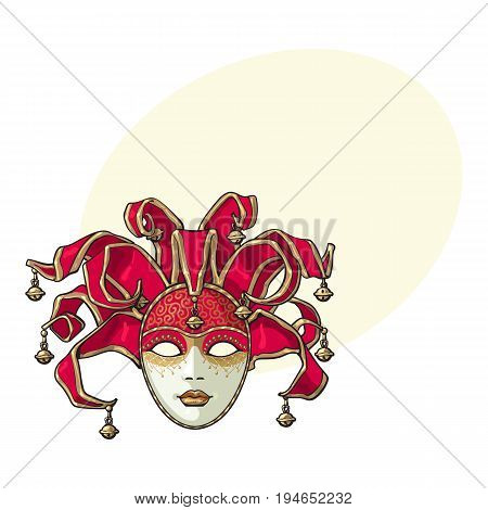 Decorated Venetian carnival, jester mask with bells and golden glitter, sketch style vector illustration with space for text. Realistic hand drawing of carnival, Venetian mask with bells