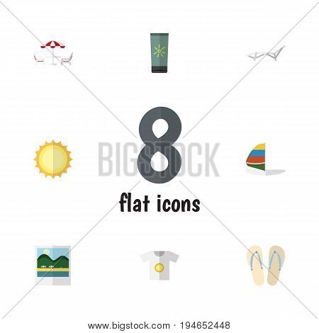 Flat Icon Summer Set Of Recliner, Beach Sandals , Surfing Vector Objects. Also Includes Beach, Flip, Foto Elements.