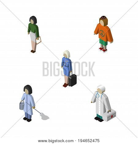 Isometric People Set Of Lady, Pedagogue, Medic And Other Vector Objects. Also Includes Cleaner, Lady, Hostess Elements.