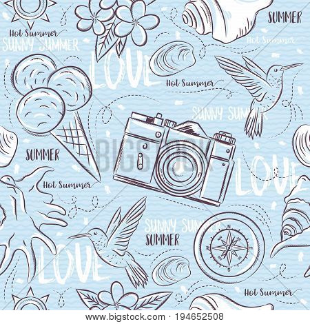 Seamless Patterns with summer symbols hummingbird ice cream camera flower on a blue grunge background vector illustration. Ideal for printing onto fabric and paper or scrap booking.
