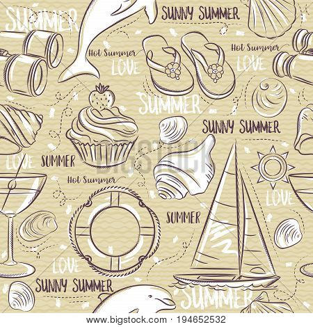 Seamless Patterns with summer symbols boat shels dolphin cocktail binoculars flip-flops on a beige grunge background vector illustration. Ideal for printing onto fabric and paper or scrap booking.