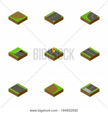 Isometric Way Set Of Flat, Underground, Without Strip And Other Vector Objects. Also Includes Turning, Downward, Plane Elements.