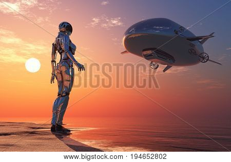 A robot and a dirigible in the desert.,3d render