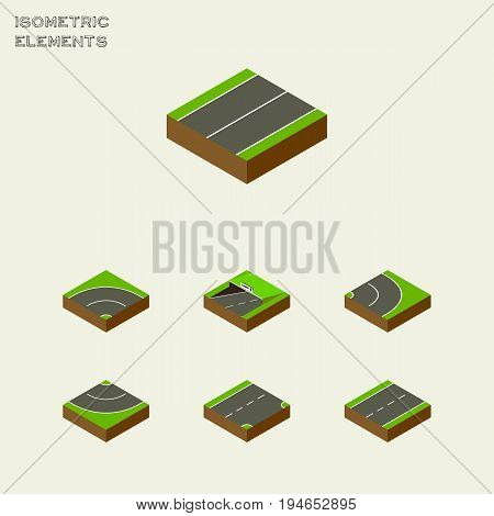 Isometric Way Set Of Road, Plane, Asphalt And Other Vector Objects. Also Includes Asphalt, Downward, Underground Elements.