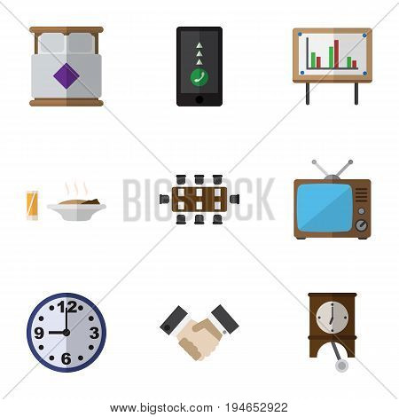 Flat Icon Life Set Of Watch, Clock, Mattress And Other Vector Objects. Also Includes Cellphone, Chart, Greeting Elements.