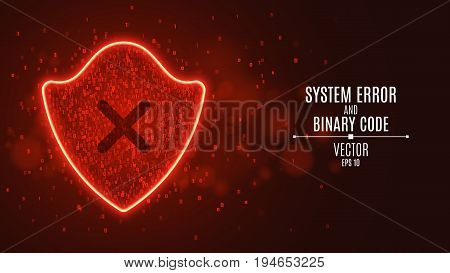 High-tech computer concept. A red glowing neon shield from a binary code. Hacking the system. The Dark Cross. Access denied. Vector illustration