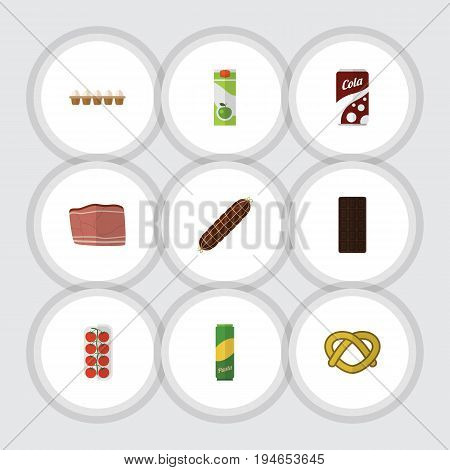 Flat Icon Food Set Of Confection, Tomato, Cookie And Other Vector Objects. Also Includes Bar, Fizzy, Smoked Elements.